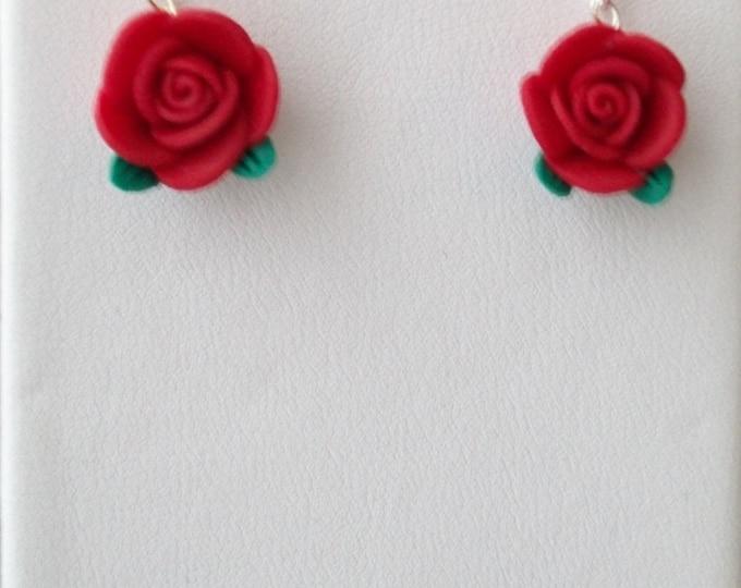 Red Rosebud Earrings