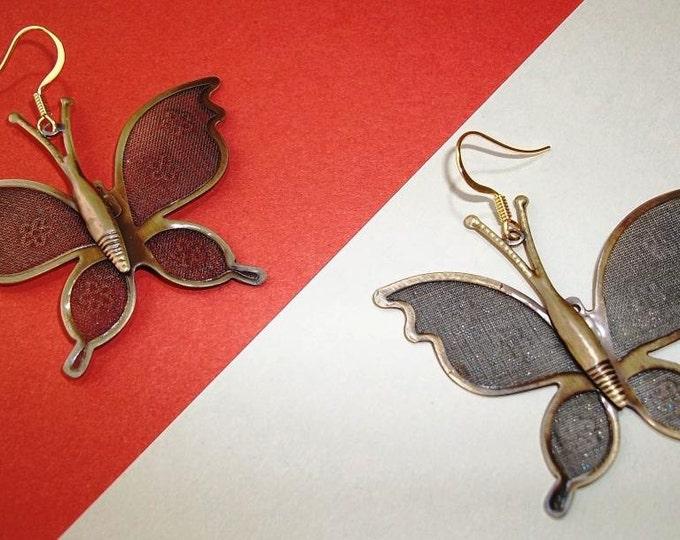 Large Bronze Butterfly Earrings