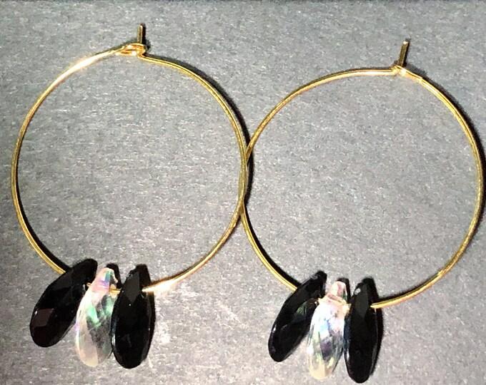 Gold Hoop Earrings with Black & Crystal Teardrops
