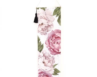 Girls Pink Flower Growth Chart for Girls Handmade Canvas Fabric Peony Keepsake Gift New Baby Girl Nursery Personalised Room Decor kookinuts