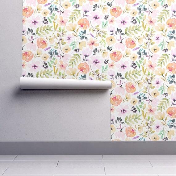 Watercolor Floral Wallpaper Kids Nursery Removable Wallpaper Repositionable Wallpaper Spring Flowers Woven Wallpaper Designer Removable