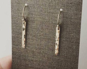 Tiny Gold Bar Earrings, Gift for Women, Gift for Her, Hammered Gold Filled Earrings, Handmade Jewelry by Burnish
