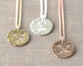 Best Friends Crossed Arrows Friendship Necklace, Hand Stamped Friend Gift Pendant Necklace, BFF, Sister Gift, Handmade by Burnish