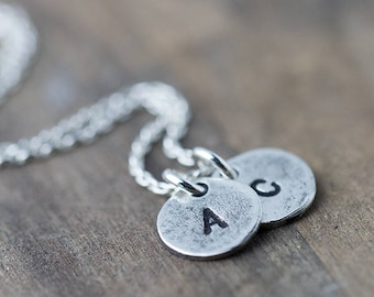 Personalized Initial Necklace | Custom Hand Stamped Jewelry | Sterling Silver Monogrammed Gift for Mom Mother's Necklace Mommy Jewelry
