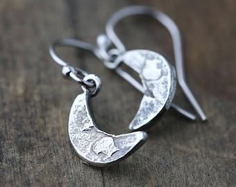 Sterling Silver Moon Earrings Handmade Dangle, Crescent Moon Earrings, Celestial Jewelry, Gift for Women, by Burnish, Fairytale Gift