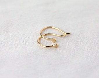 be305468d Tiny Solid 14K Gold Earrings • Fine Jewelry Gift Handmade • Women's  Minimalist Earrings • Unique Gifts for Her