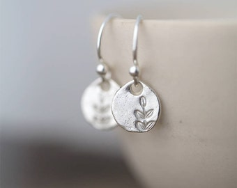 430c4815d Tiny Dainty Leaf Earrings Sterling Silver • Silver Dangle Earrings Handmade  Hand Stamped Jewelry for Women • Unique Birthday Gifts for Her