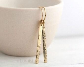 Slim Gold Earrings Minimalist | Hammered Gold Bar Earrings Dangle | Handmade Jewelry Burnish