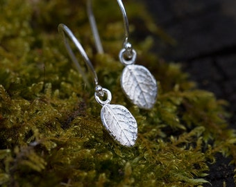 Sterling Silver Leaf Earrings Handmade • Made in Alaska Jewelry • Women's Gift for Her • Botanical Nature Jewelry