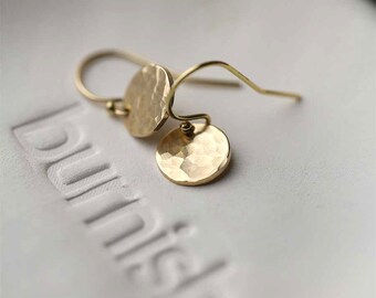 Tiny Hammered Gold Earrings Handmade, Mother Gift, Handmade Jewelry, Earrings Gifts for Women, Jewelry Handmade, Jewellery by Burnish