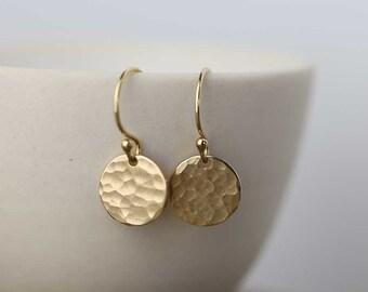 Tiny Gold Earrings Dangle Drop Earrings, Minimalist Earrings, Hammered Gold Filled Earrings Jewelry, Handmade Jewelry by Burnish