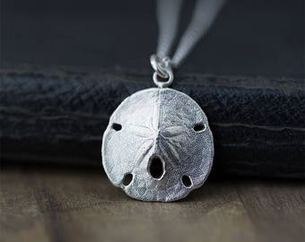 Sterling Silver Sand Dollar Necklace for Women, Unique Handmade Jewelry Gift for Women, Women's Mermaid Necklaces