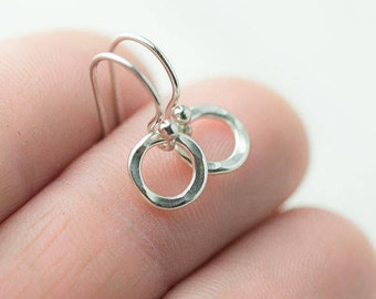 Tiny Circle Sterling Silver Earrings • Minimal Silver Hammered Dangle Earrings Handmade • Minimalist Dainty Jewelry
