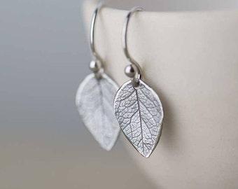 Sterling Silver Leaf Earrings • Unique Boho Jewelry • Silver Dangle Earrings for Women • Handmade Jewelry by Burnish