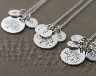 Family Tree Necklace | Personalized Gift for Women | Custom Hand Stamped Initial Necklace Sterling Silver | Handmade Jewelry