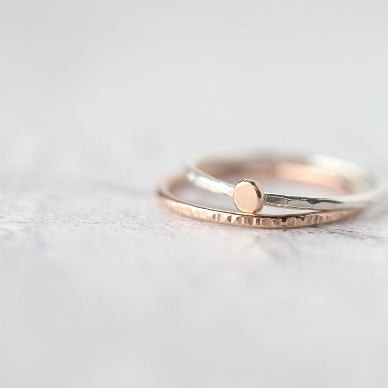 d15ef72713b8b Set of 2 Stacking Rings Handmade • Sterling Silver & Rose Gold Filled or  14K Rose Gold Stack Ring Set • Thin Minimalist Bands for Women
