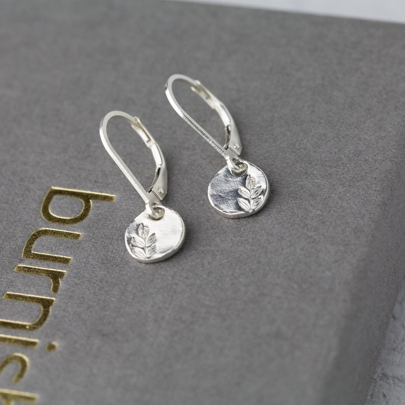 Tiny Stamped Leaf Earrings with Lever-back Ear Wires in image 0