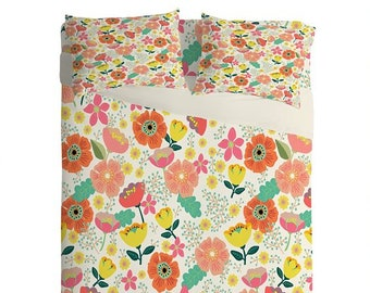 Summer Floral Lightweight Sheet Set, Whimsical Orange Pink Yellow Flowers Bedroom Decor, Bedroom Decor Gift for Mum, Mothers Day Gift Idea