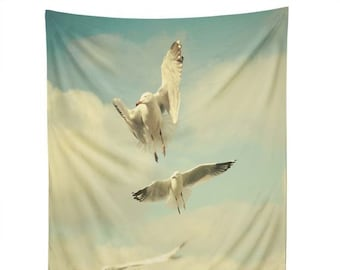 Wall Tapestry: Flying Seagulls tapestry, college dorm decor, birds wall decor, dreamy kids bedroom decor, whimsical sky blue nursery decor
