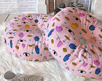 Eyes Hands Mouth Dots pink big floor pillow meditation cushion, boho apartment decor round indian poufs housewarming gift board game night