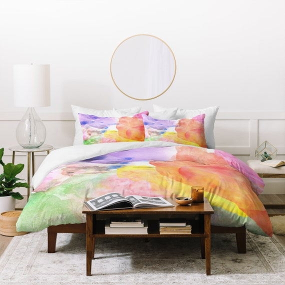 Canadian Inspired Home Decor Canada Pillow Via Etsy: Items Similar To Unique Watercolor Colorful Bedding Set