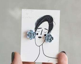Succulent Stud Earrings - Blue Purple Echeveria Plant Polymer Clay Hypoallergenic Earrings Gift for Women