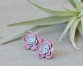 Succulent Stud Earrings - Lilac Purple Echeveria Plant Polymer Clay Hypoallergenic Earrings Gift for Women SE033