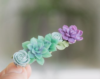 Handmade Green Succulents Asymmetrical Side Comb /& Mini Succulents Alligator Hair Clip w White Accents Get Both