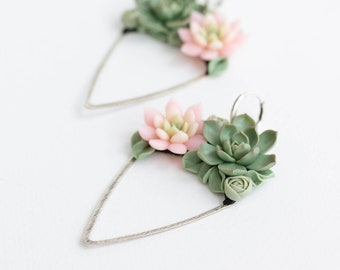 Green Pink Silver Succulent Dangle Earrings Brass Polymer clay Handmade Statement Earrings Gift for her