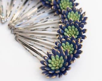 Blue Green Succulent Hair Pins Hairpin  Bobby Pins Hair ideas Accessory Women Handmade Decoration Bridal Hair