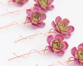 1 pcs purple Succulent Hair Pins Hairpin  Bobby Pins Hair Buy succulents plant ideas Accessory Women Handmade Decoration Bridal Hair