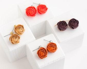 Orange Red Gold Brown Rose Drop Earrings, Minimalist design