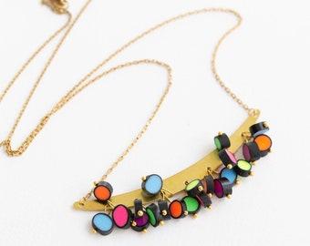 Rainbow Raindrops colection Neon bead necklace Multicolor Statement Necklace Modern pendant