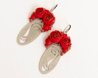 "Flowers earrings ""Ukrainian girls"", Red Ranunculus Rose Flowers dangle statement earrings, red flowers face earrings abstract"