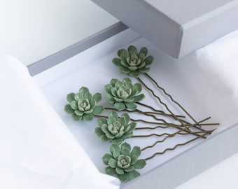 1 pcs Green Succulent Hair Pins Hairpin  Bobby Pins Hair Buy succulents plant ideas Accessory Women Handmade Decoration Bridal Hair