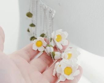 Daisy Statement cuff earrings  Statement Drop Flowers earrings for wedding  Non pierced single earring Floral earrings Woodland jewelry