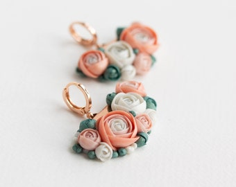 Pink White Green Bouet Dangle Earrings from polymer clay
