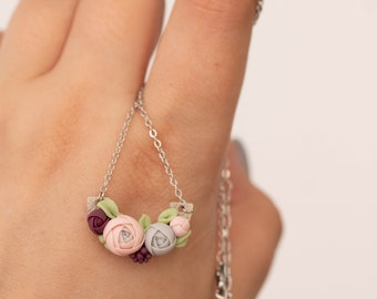 Flowers Pendant Necklace - Pink Clay Floral Plant Drop Charm Necklace Pastel Rose Jewelry Gift