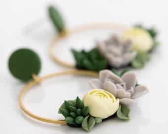 Green Yellow Gray Succulent dangle earrings