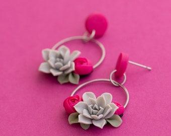Pink Gray Succulent dangle earrings