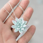 Blue Pink Purple Succulent Pendant Necklace Wholesale Succulent Plants Metal Basis Pendant Jewelry Succulent SN012