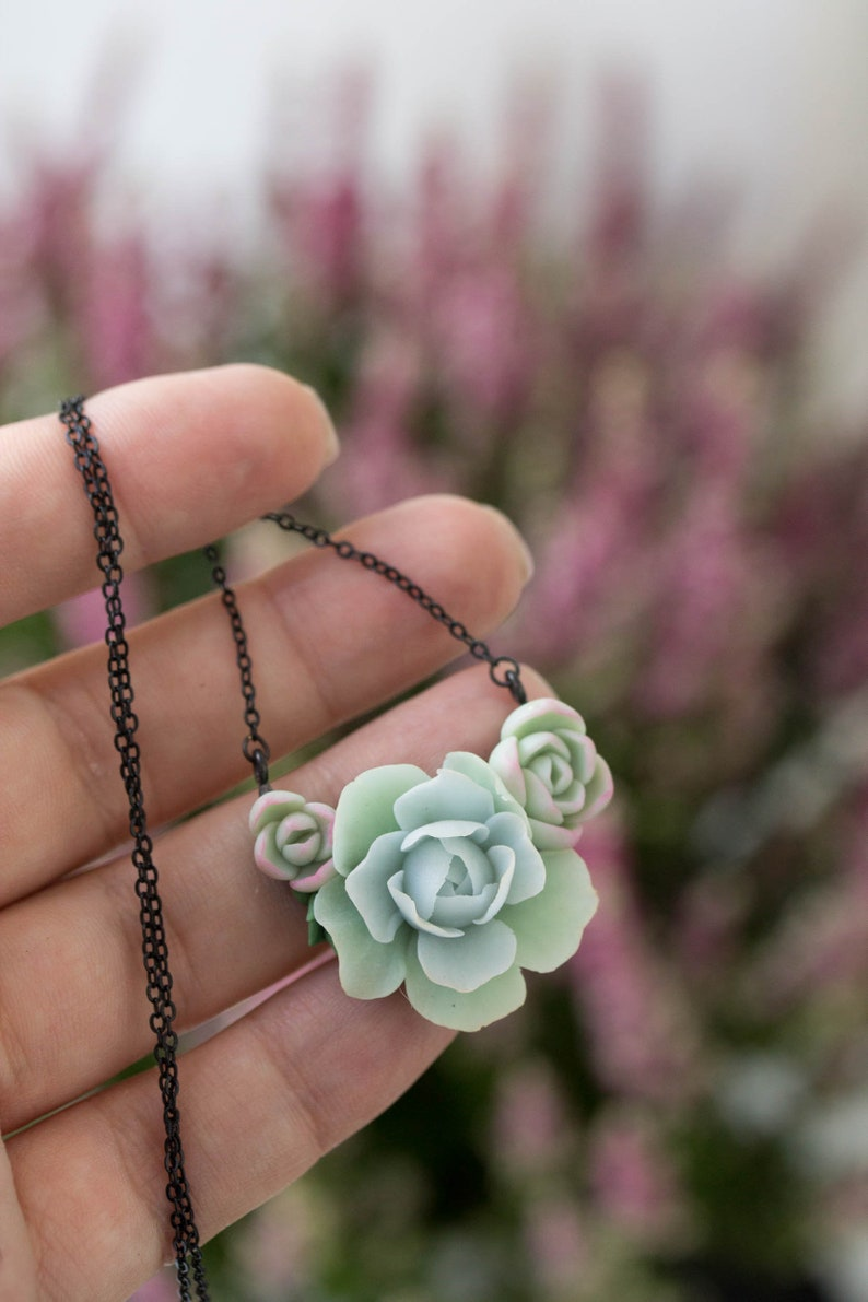 Succulent Pendant Necklace  Clay Cactus Plant Drop Charm image 0
