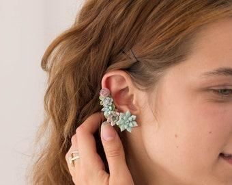 Succulent Echeveria Cuff earrings Grey Blue Purple Succulents dangle earrings, unique floral jewelry, design from EtenIren