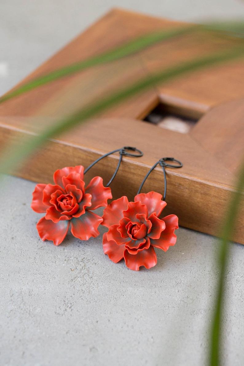 Burnt Orange Flowers Earrings Dangle Statement Earrings image 0