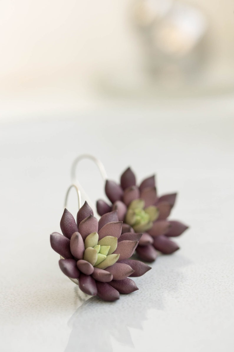 Echeveria Black Prince Succulent dangle earrings Unique image 0