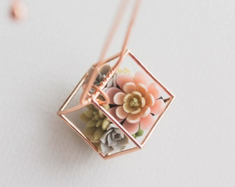 Succulent Terrarium Pendant Necklace - Clay Plant Drop Charm Necklace Green Pink Succulent Jewelry Gift