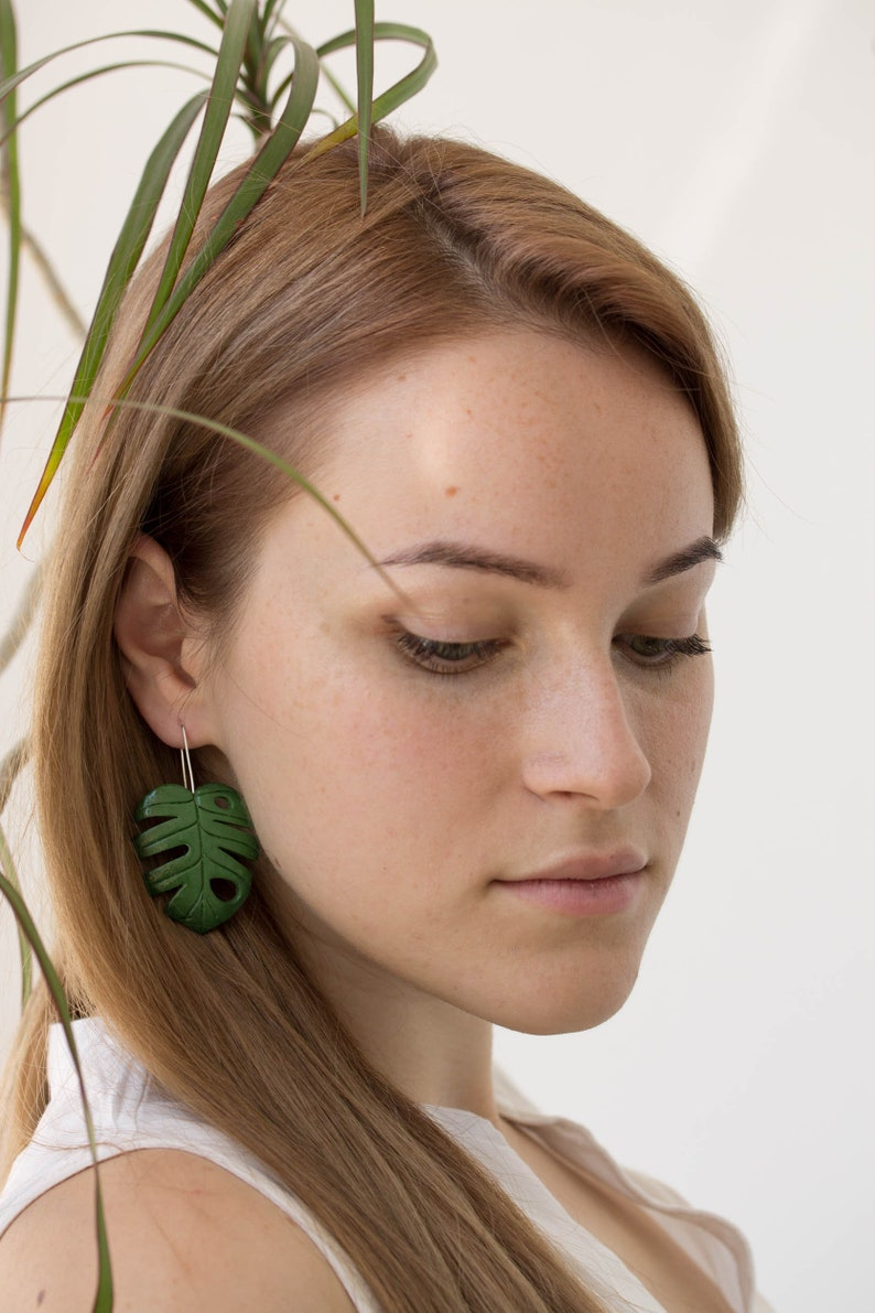 Monstera Leaf Earrings  Green Clay Sculpted Long Dangle Drop image 0