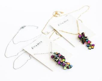 Rainbow Raindrops colection Neon bead necklace Multicolor Statement Necklace Modern pendant 85cm 33,5 in long necklace