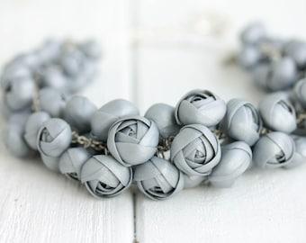 Silver Ranunculus Flower Necklace Women Polymer Clay Jewelry Statement Bib Handmade Necklace Wedding Bridal Birthday Party Accessory