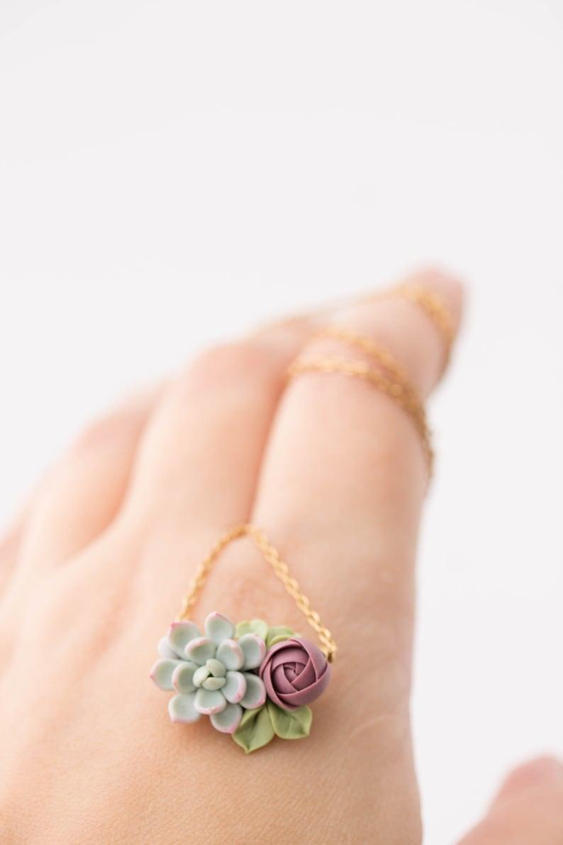 Succulent Pendant Necklace  Clay Cactus Plant Drop Charm image 0